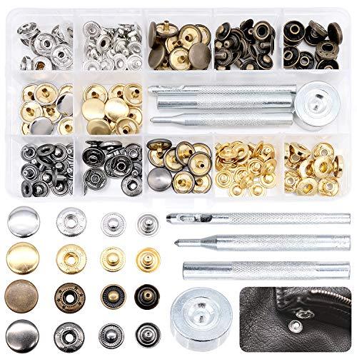 Cisolen Bottoni Automatici in Metallo, Set di Bottoni a Pressione con Base e attrezzo per Vestiti, Jeans, Pelle Cuoio e Tende, Borse