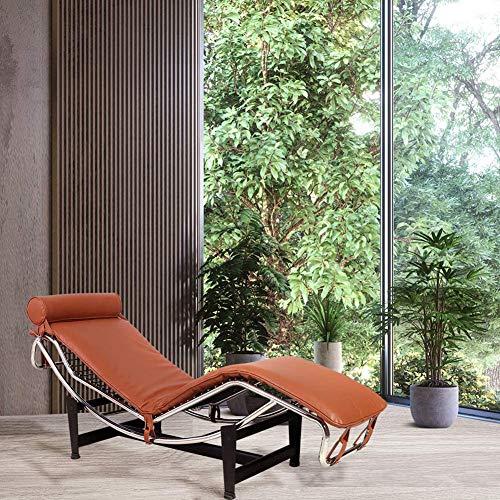WenErJie LC4 - Chaise réplica de sillón de piel sintética de color café claro con marco de acero inoxidable ajustable, reposacabezas ajustable a mediados de sigl
