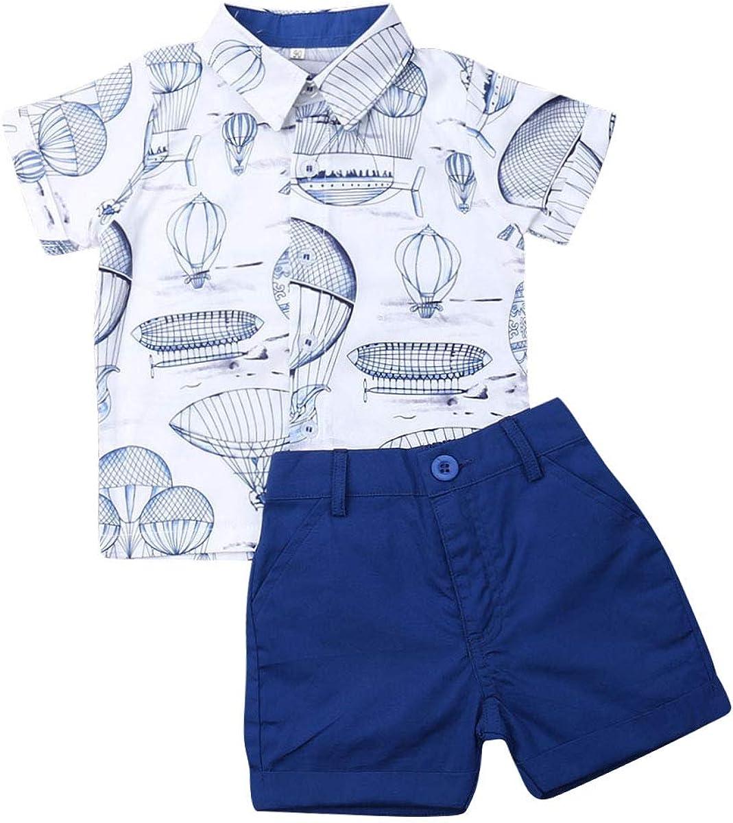 Summer Toddler Baby Boy Gentleman Flamingo Print Short Sleeve T-Shirt +Shorts Pants 2PCS Outfits Clothes Set