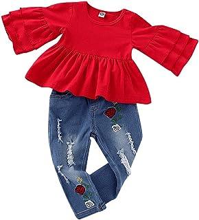 1-4 Años,SO-buts Bebé Niño Niña Otoño Invierno Color Sólido Camiseta Con Volantes Tops + Conjunto De Traje De Pantalones D...