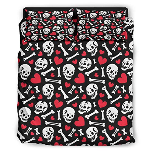 Generic branded Halloween Skull Duvet Cover Sets 4 Pcs 100% Cotton Quilt Cover Set Bedding Duvet Cover Sets With 2 Pillowcases And Bed Sheet for bedroom Single Easy to Care white 228x228cm