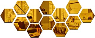 Wall1der - 13 Hexagon Golden (Size 10.5 x 12.1) 3D Acrylic Stickers, 3D Acrylic Mirror Wall Stickers for Living Room, Hal...