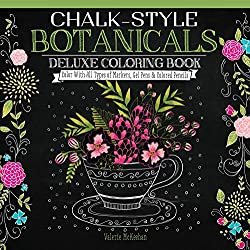 one sided coloring books chalk style botanicals
