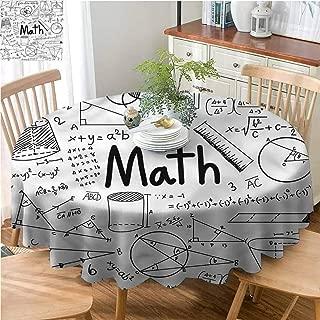 ScottDecor Reusable Round Tablecloth Mathematics Classroom,Math Icons Wrinkle Free Tablecloths Diameter 50