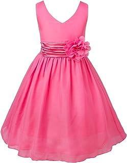 Freebily Mädchen Kleid Festlich mit Blumen Partykleid Kinde