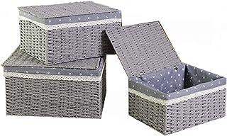 Panier de rangement Paniers d'organisation 3 pièces de paniers papier à la main Weave Stockage, décoratif Stockage Bins Pa...