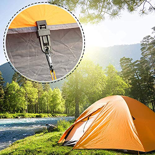 WZYTEU Pack of 10 Tarp Clips, Multifunction Tarpaulin Mounting Clips, Awning Clamp and 10 Pieces D-shape Plastic Carabiners for Outdoor Tent Camping Awning