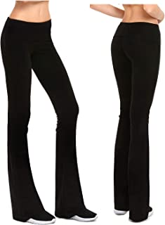 Womens Fold-Over Waistband Stretchy Cotton Blend Yoga Pants with A Wide Flare Leg 2 Pack