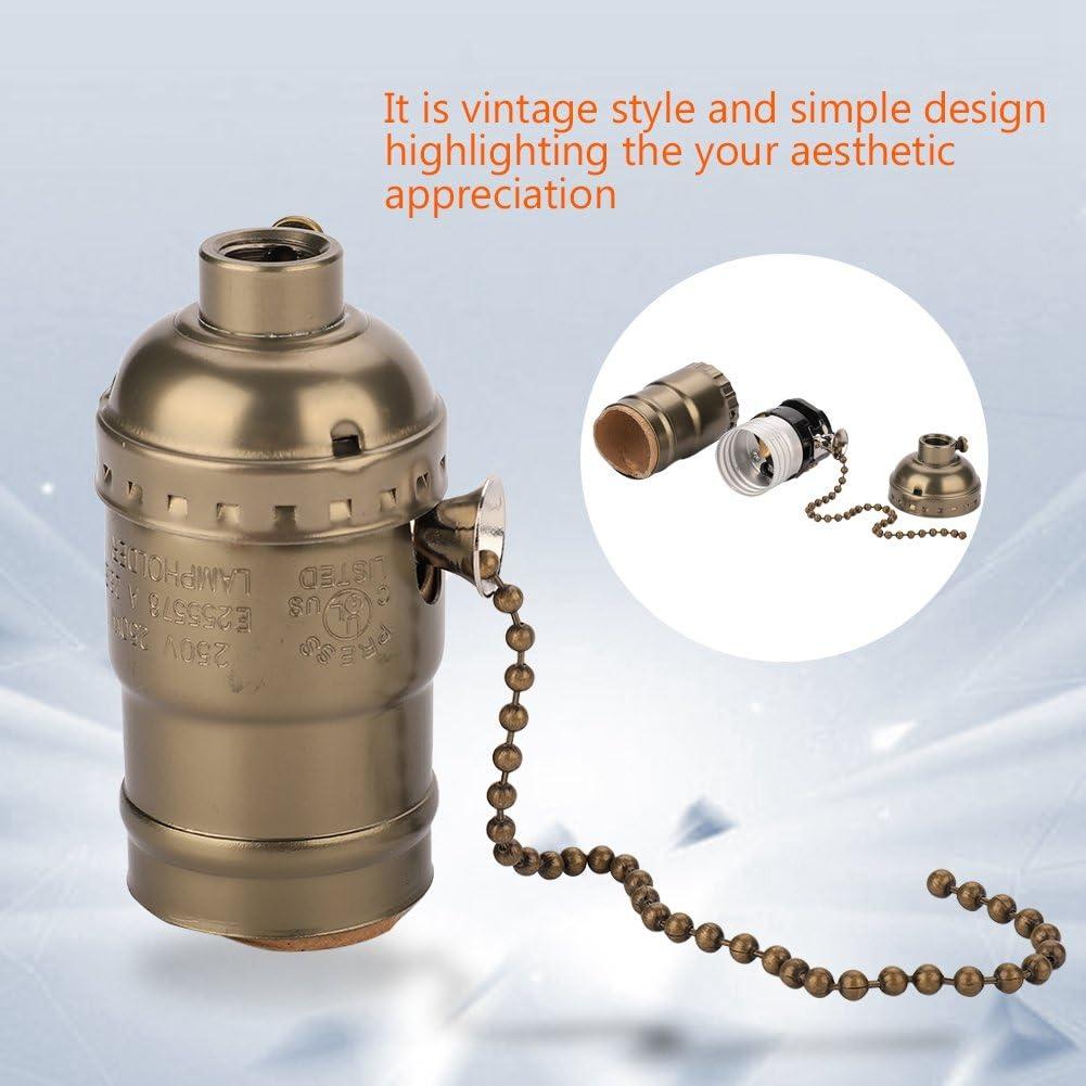 douille de lumi/ère Vintage avec cha/îne de traction Support de lampe en aluminium E27 Porte-ampoule bronze base de support d/éclairage /à vis de table de bureau