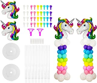 2 Sets Unicorn Balloon Column Stand Base and Pole Quick Building Kit, 5 Feet Tall and 2 lb Water Fillable Base for Wedding, Birthday Balloon Party Decorations by WYNMARTS
