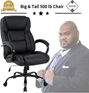 Big & Tall Heavy Duty Executive Chair 500 Lbs Heavyweight Rated Black PU Leather Task Rolling Swivel Ergonomic Executive Office Chair with Lumbar Support Armrest for Study Meeting Room