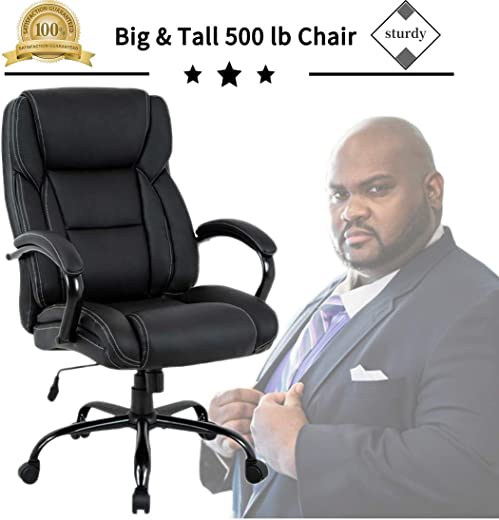 B07VFZG8KB✅Big & Tall Heavy Duty Executive Chair 500 Lbs Heavyweight Rated Black PU Leather Task Rolling Swivel Ergonomic Executive Office Chair with Lumbar Support Armrest for Study Meeting Room