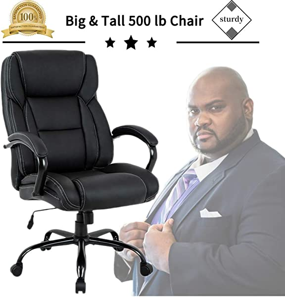 Big Tall Heavy Duty Executive Chair 500 Lbs Heavyweight Rated Black PU Leather Task Rolling Swivel Ergonomic Executive Office Chair With Lumbar Support Armrest For Study Meeting Room