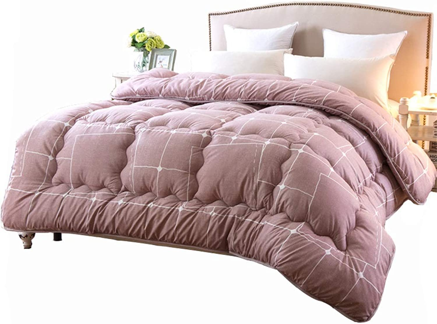 Warm Quilt Quilted Duvet Spring Autumn   Winter Thicked Warm Single Double Bed Pink Bedding - Family Student Dormitory Comforter - Polyester Fabric Fashion Fluffy Quilt Antiallergic Quilt