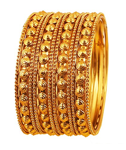 Touchstone Armreif Kollektion Indischer Bollywood Putz Look Exklusive Prägung Designer Schmuck Armreifen Armbänder für Damen 2.37 Set von 12 Gold
