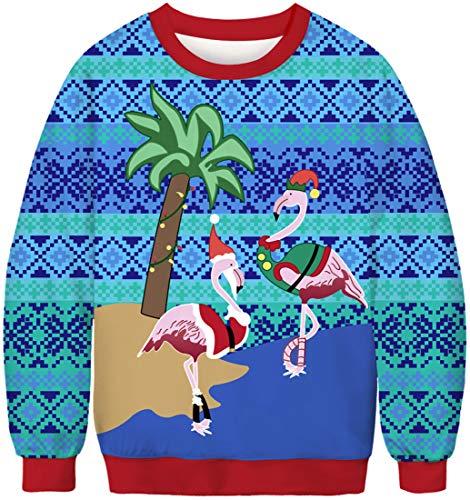 EUDOLAH Herren Pullover Weihnachtspulli Weihnachtspullover Pulli 3D Druck Bunt Rundhals Langarm Weihnachten Christmas Geschenke 1-Flamingo XL