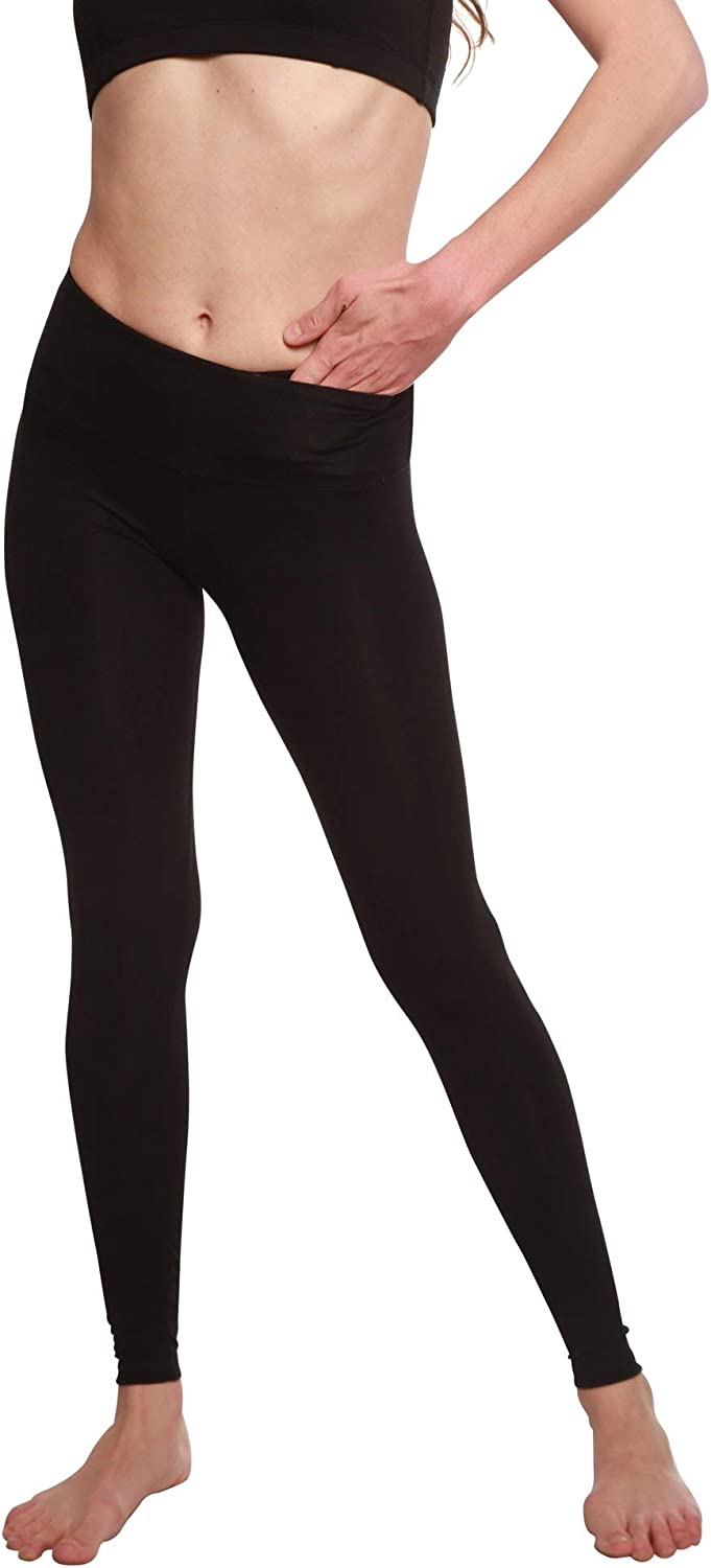 Spun Bamboo Women's Bamboo Viscose Full Length Legging - Soft Stretchy Comfort-Fit Yoga Pants with Hidden Packet