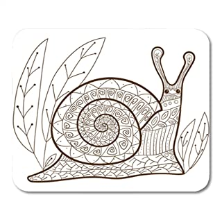 Semtomn Gaming Mouse Pad Adult Coloring Page Cute Snail Whimsical Line for Colouring Book 9.5