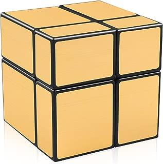 D-FantiX Shengshou Mirror Cube 2x2 Speed Cube Golden Mirror Blocks Unequal Shape Puzzles