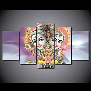 GDPOOTREE 5 Pieces Indian Mythology Hindu God Elephant Modern HD Printed Poster Modular Painting Canvas Wall Art Pictures Home Decor NO Frame-40cm×100cm×1pcs