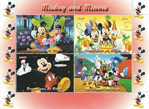 Topolino e Minnie Mouse Disney foglio di francobolli per collezionisti rilasciato 2014 / Benin / 1000F