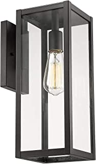 Bestshared Outdoor Wall Lantern, 1-Light Exterior Wall Sconce Light Fixtures,Wall Mounted Single Light, Black Wall Lamp with Clear Glass (1 Pack)
