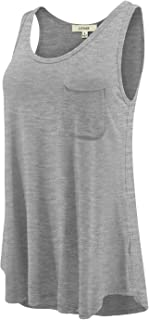 LUVAGE Women's Sleeveless Tank Top Shirt with Pocket - Round Neck Casual Summer Loose Fit Top