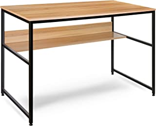 Computer Desk, Modern Office Table with Open Bookshelf, Simple Study Desk Office Desk Game Table, Studio Collection Desk/Table/Computer Table -Nordic Walnut (47 Inches)