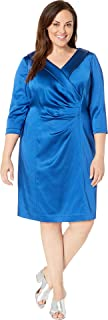 Tahari by ASL Womens Plus Size Stretch Satin Cocktail Dress with Wide Neckline and Side Drape Detail