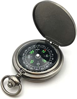 Boundless Voyage Vintage Portable Compass Mini Multi-funtional Fluorescence Compass with Carry Bag for Camping Outdoor Wil...