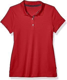 NAUTICA Womens 9301ZK 3-Button Short Sleeve Breathable 100% Cotton Polo Shirt Short Sleeve Polo Shirt - White - Medium