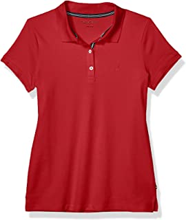 Nautica Womens 9301ZK 3-Button Short Sleeve Breathable 100% Cotton Polo Shirt Short Sleeve Polo Shirt