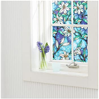 Wildwood Privacy Stained Glass Window Film Floral Vinyl Static Cling Films NEW