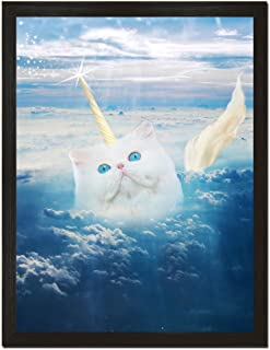 Sharp Shirter Funny Cat Poster Unicorn Print Animal Wall Art Teen Bedroom Decor White Clouds Unframed 8x10 Inches