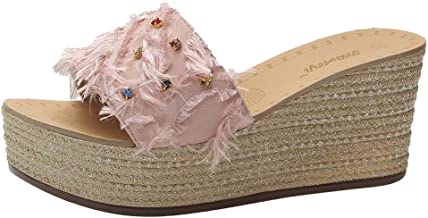Fankle Women's Sandals Wedge Heels Ladies Bohemian Platform Slippers Dazzling Sequins Summer Casual Shoes Anti-Skid