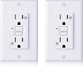 Cable Matters 2-Pack 15 Amp Tamper Resistant and Weather Resistant GFCI Outlet with Wall Plate in White