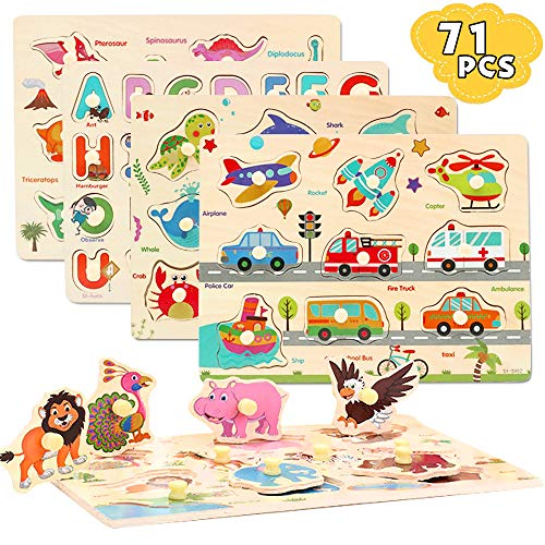 CORPER TOYS 木製 型はめ おもちゃ パズル 形合わせ 積み木 形認識 英語 5種類シリーズ 子ども カラフル プレゼント クリスマス