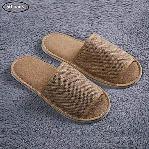 Zapatillas de casa para huéspedes, zapatillas de spa, zapatos de punta abierta Zapatillas de estancia en casa antideslizantes Algodón y lino Se adapta a la mayoría de hombres y mujeres para huéspedes