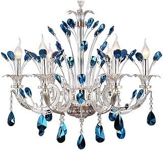 EternalUS 6 Head Modern Luxury Blue Crystal Chandelier Lighting Fixture Peacock Ceiling Lighting Chandeliers Pendant Lamp for Dining Living Room Bedroom Decoration