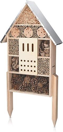 Navaris Hôtel à Insecte Bois - Cabane Abri XL 38 x 11,5 x 57 cm avec 2 Piquets - Nid Nichoir pour Abeilles Papillons ...