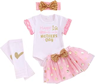 Baby Girl Mother Day Clothes Happy First Mothers Day Romper Top Tutu Skirt with Headband and Leg Warmer 4pcs Outfit Sets