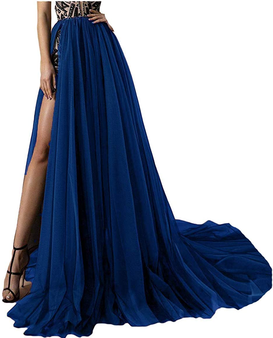 Simlehouse 4 Layer Tulle Detachable Skirts High Split Side Overskirts for Prom Party Dress Sweep Train