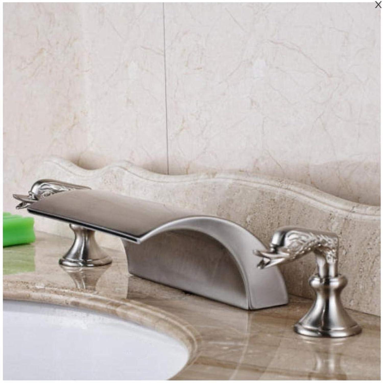 Luxus Nickel Gebürstet Becken Wasserhahn Wasserfall Deck Montiert Mischbatterien Doppelgriff 3 Lcher Toilette Waschbecken Mischbatterien