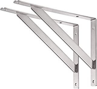 "YUMORE Shelf Bracket 14"", Max Load: 440lb Heavy Duty Stainless Steel Solid Shelf Support Corner Brace Joint Right Angle Bracket, Pack of 2"