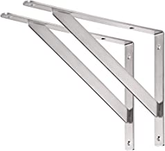 """YUMORE Shelf Bracket 14"""", Max Load: 440lb Heavy Duty Stainless Steel Solid Shelf Support Corner Brace Joint Right Angle Bracket, Pack of 2"""