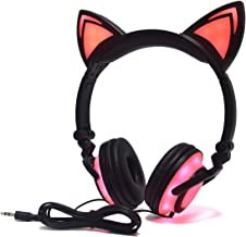 Kids Headphones with Cat Ears,LED Light with USB Chargeable Earphones for Kids Teens Adults, Compatible for Ipad,Tablet,Computer,Mobile Phone LX-R107 (Black&Pink)