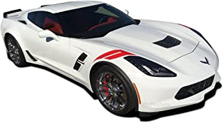 MoProAuto Pro Design Series C7 Hash : 2014-2019 Chevy Corvette Factory Style Hood to Fender Hash Mark Stripes Vinyl Graphic 3M Decal Kit (FITS All Models) (Color-3M 02 Gloss Black)