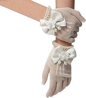 (ラボーグ)La Vogue 子供 ドレスグローブ ショートリボン手袋 キッズ プリンセスドレス 子供用手袋 フラワーガール ウェディングフォーマルに ベージュ