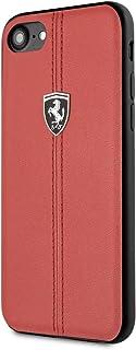 Ferrari Vertical Stripe Leather Hard Case for iPhone SE 2 - Red