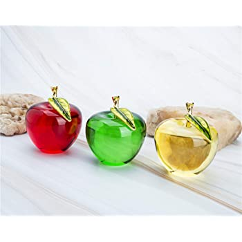 H&D Crystal Glass Apple Paperweight Craft Decor (Apple-Set of 3)